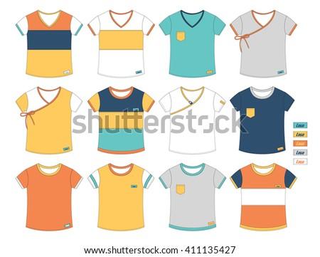 set of casual t-shirt cutting design - stock vector