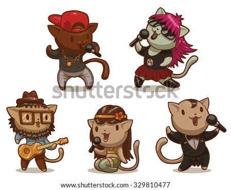 Set of cats singing songs in different styles, pop, rock, rap, punk and others, 5 characters, vector - stock vector