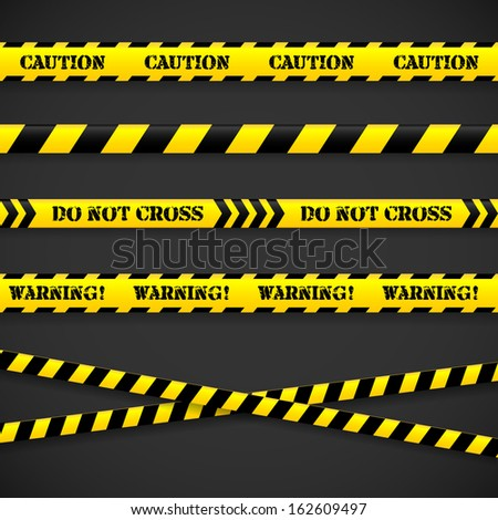 Set of caution tapes on black background. Vector illustration. - stock vector