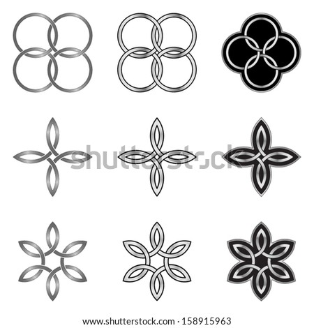 Set of Celtic Knot Design Elements, Models and Templates - stock vector