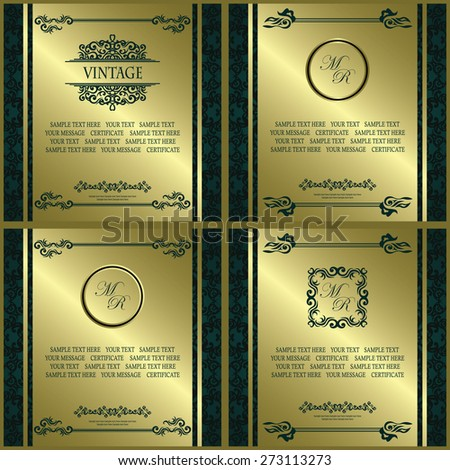 Set of certificates with decorative elements. Vintage frames. Original design. Can be used as diploma     - stock vector