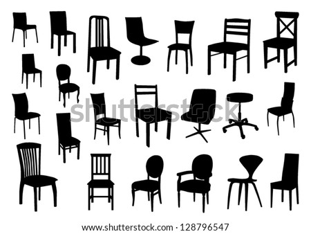 Set of chair silhouettes - stock vector