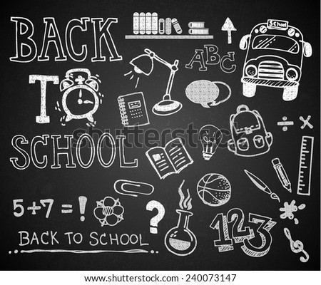 Set of chalk hand drawing BACK TO SCHOOL on blackboard - stock vector