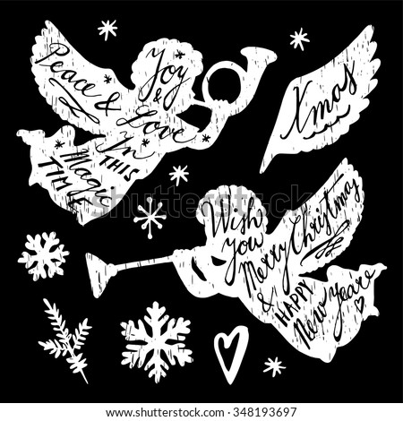 Set of chalk hand drawn Christmas illustrations, angels and snowflakes, isolated vectors - stock vector