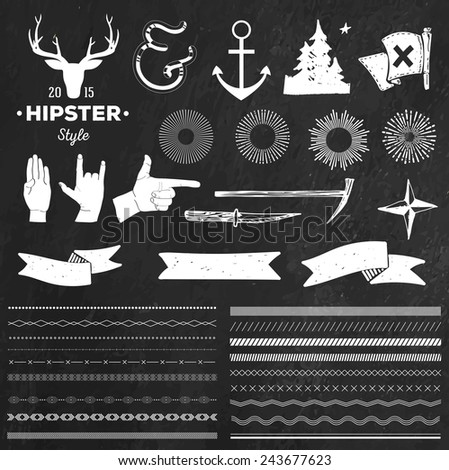 Set of chalk hipster vintage retro labels, dividers and logo on chalkboard background - stock vector