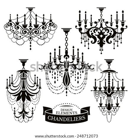Set of chandelier silhouettes vector illustration - stock vector