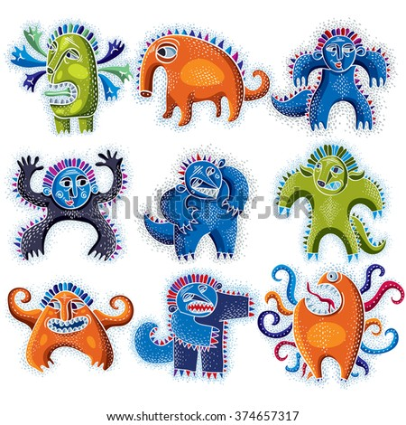 Set of character monsters vector flat illustration, collection of cute mutants. Drawing of weird beast, emotional expression.  - stock vector