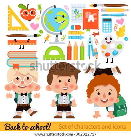 Set of characters and school icons in cartoon style. Boy student with a backpack and books. Icons on the school theme - globe, pencils, books, rulers, brushes and other items. - stock vector
