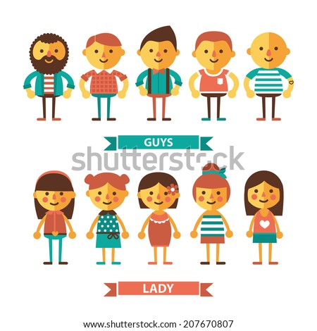 Set of characters.Flat picture. - stock vector