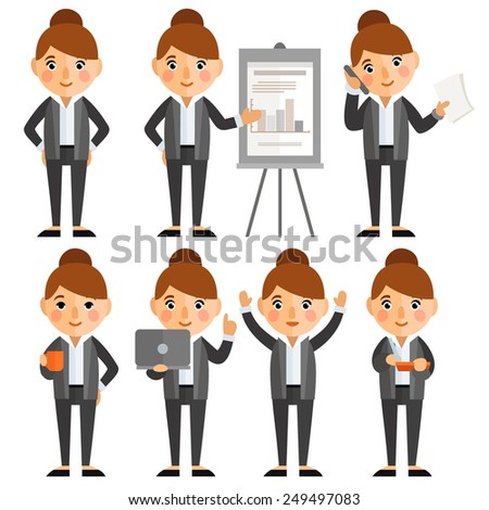 Set of characters in a flat style. businesswoman, office worker in various situations. - stock vector