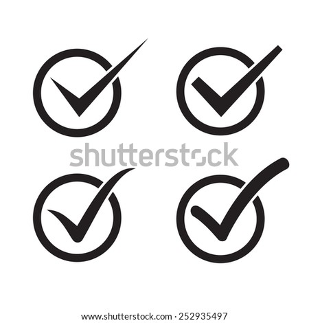 Set of check mark, check box icons - stock vector