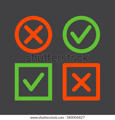 Set of check mark icons on a black background. Tick and cross line icons in circle and square shape - stock vector