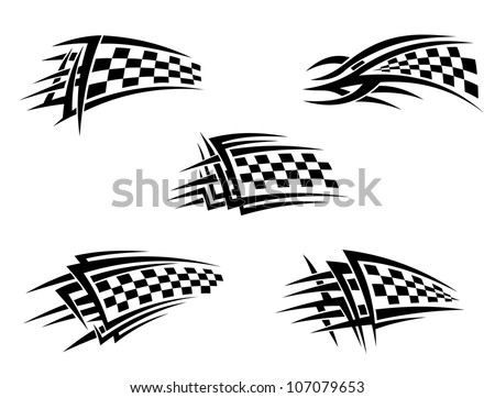 Set of checker racing flags in tribal style, such logo. Jpeg version also available in gallery - stock vector