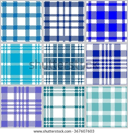 Set of checkered seamless patterns. Plaids, tartans, shirt fabric, tablecloths. Retro textile collection. Blue shadows palette. Backgrounds & textures shop. - stock vector
