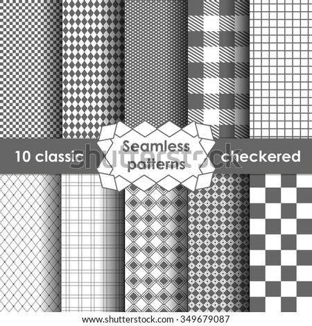 Set of checkered simple fabric seamless pattern in grey and white. 10 classic ornaments - stock vector