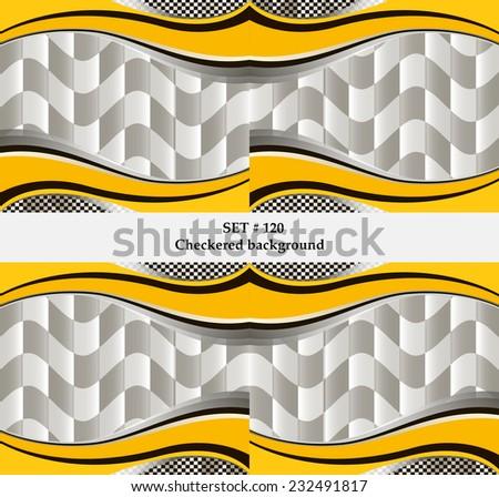 Set of checkered vector flag background. Sport set wallpaper eps10 - stock vector