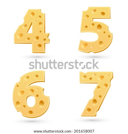 Set of cheese numbers. Symbols isolated on white. Vector design element - stock vector