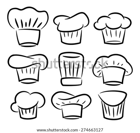 set of chef hat - stock vector