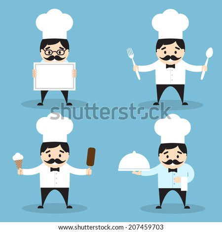 Set of chef icons. Vector illustration. Flat design - stock vector