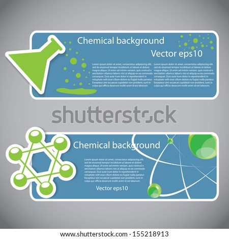 Set of chemical atomic banners or website headers - stock vector