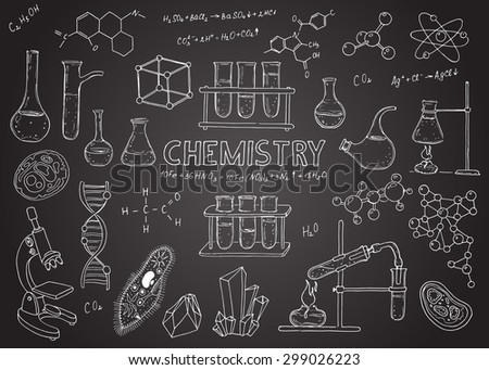 Set of chemical equipment. Vector  hand drawing icons. Vintage background. Linear illustration.  Back to School. Chemistry. Chalk board. - stock vector
