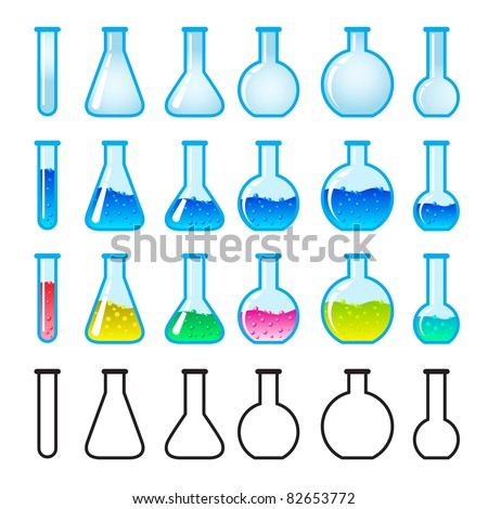 Set of Chemical Science Equipment. Illustration on white background - stock vector