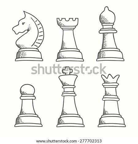 Set of chess pieces icons. King, queen, bishop, knight, pawn and rook. Hand drawn chess made in vector. Chess pieces for chess school or chess club. - stock vector