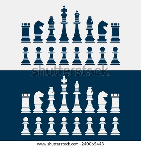 set of chess pieces silhouettes. vector illustration - stock vector