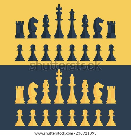 set of chess pieces. vector illustration - stock vector
