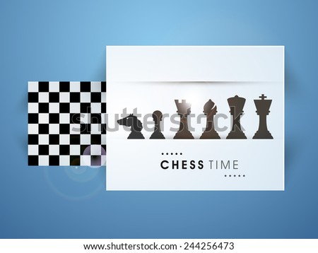 Set of chess pieces with chess board on blue background. - stock vector