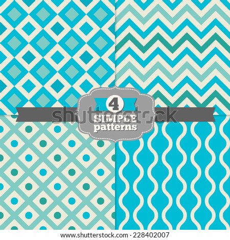 Set of Chevron, Diamond and Wave Holiday Patterns in Cyan, Teal and Beige. Rhombus, zigzag, dots, waves. Perfect for wallpapers, pattern fills, web page backgrounds, textile  - stock vector