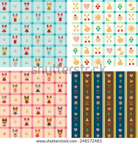 set of children's backgrounds - stock vector