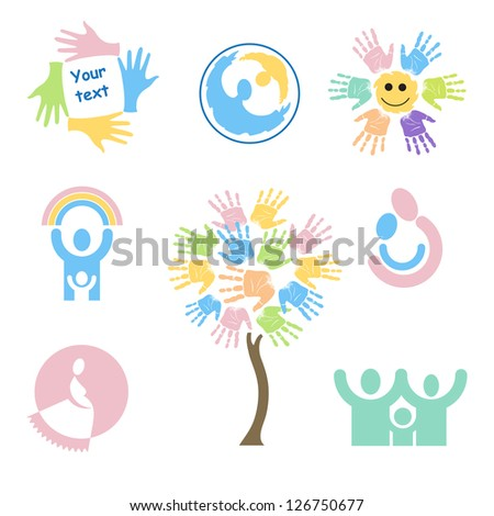 Set of children's characters and symbols on the subject of family, motherhood, love for children and pregnancy. - stock vector