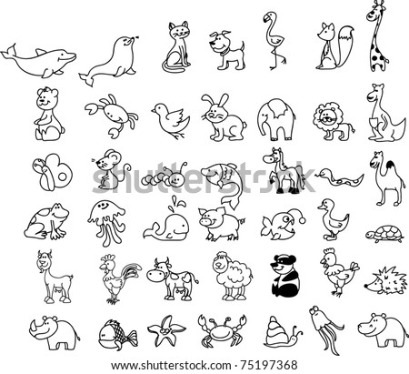 set of children's icons of animal, black and white coloring - stock vector