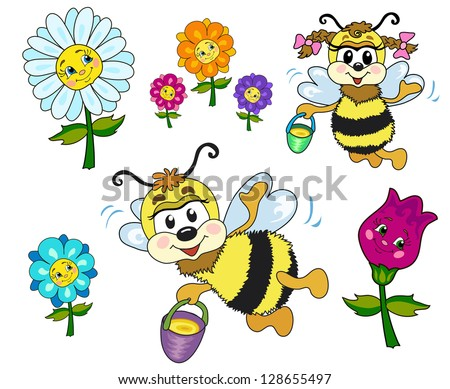 Set of children's pictures. Bee bee boy and girl fly. They collect honey. In a set of different flowers and the bees. - stock vector