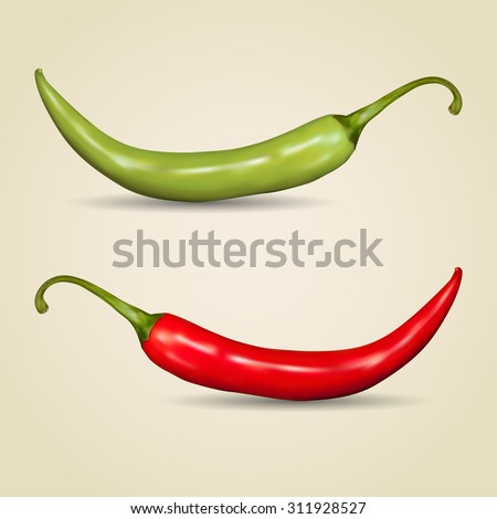 Set of chilli peppers on gray background - stock vector