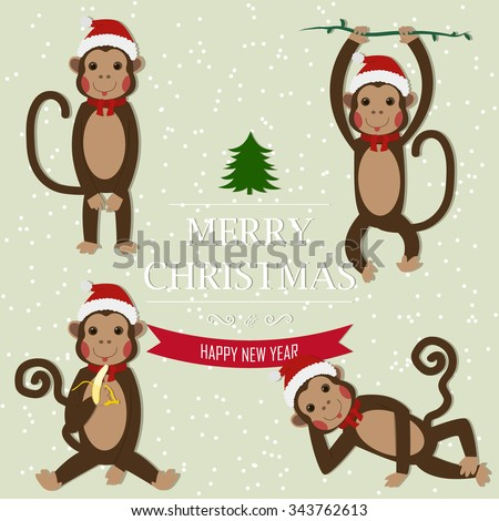Set of Chinese Zodiac - Monkeys. Vector illustration. 2016 New Year Symbol. Sitting Monkey, Dancing Monkey. Monkey in Santa Hat. Greeting for New Year and Christmas. - stock vector