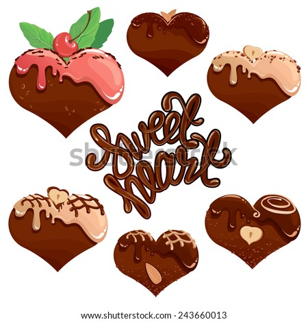 Set of Chocolate hearts in white and dark chocolate and strawberry glaze. Calligraphic text Sweet Heart. Elements for Valentines day design (card, menu, etc.) - stock vector