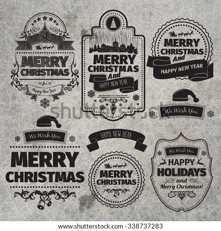 Set of Christmas and Happy New Year Labels with retro vintage styled design. Christmas decoration collection. Calligraphic and typographic elements, labels, signs. Eps 10 vector illustration. - stock vector