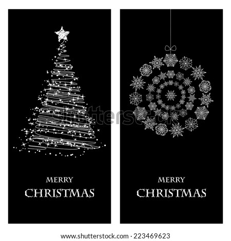 Set of Christmas and New Year banners with snowflakes and a Christmas tree - stock vector
