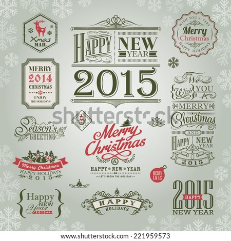 set of christmas and new year design elements vector - stock vector