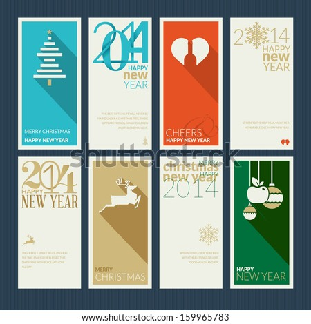 Set of Christmas and New Year greeting cards. Design the front and back of the greetings. - stock vector