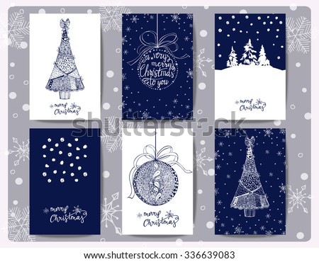 Set Of Christmas  And New Year Greeting Cards with Christmas trees, Christmas decorations, Zentangle style. Template Vector - stock vector