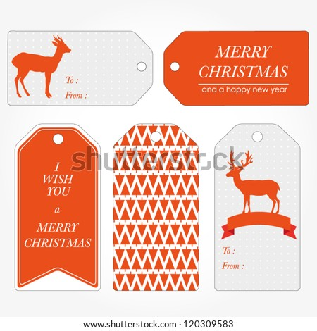 Set of Christmas and New Year's gift tags. Retro vintage gift tags. Vector illustration - stock vector
