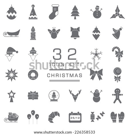 Set of Christmas and Winter icons for web icon collections. - stock vector