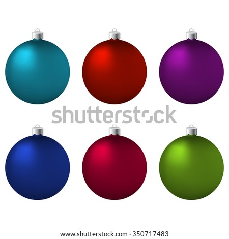 Set of Christmas balls.  6 colorful Christmas balls isolated on white. Christmas objects. Three-dimensional Christmas balls. Christmas tree decoration. Vector illustration. Eps10. - stock vector
