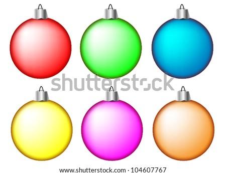 Set of Christmas balls on white background, illustration - stock vector