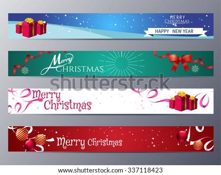 set of christmas banner vector illustration ,standard web design size - stock vector