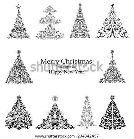 set of christmas black trees isolated on White background. Vector illustration - stock vector