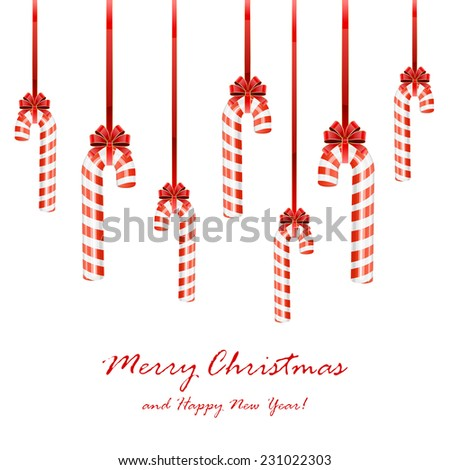 Set of Christmas candy canes with bow isolated on white background, illustration. - stock vector